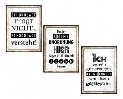 3er Set Wandbild Sprüche je 26 x 35 cm Blechschild Vintage Shabby Chic Wanddeko - Vorschau 5