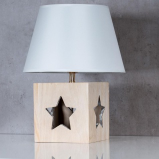 Lampe Tischlampe H41cm Holz Holzlampe Stern Leuchte Deko Tischleuchte Tischdeko - Vorschau 2
