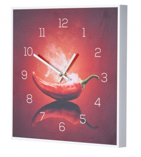 Wanduhr 30x30cm Uhr PVC Rahmen Weiß Küche Chili Peperoni Wandbild Wanddeko Deko