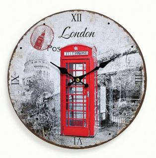 Wanduhr Holz England London rote Telefonzelle - Uhr römische Ziffern