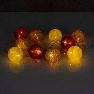 10er Lichterkette LED Ø6cm Kugeln Girlande Lampions Baumwolle Rot Gelb Deko - Vorschau 5
