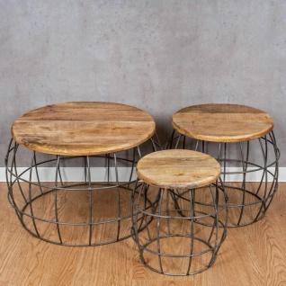 3er Set Couchtische Mango Rund Natur Eisen Schwarz Design Holz Beistelltisch - Vorschau 2