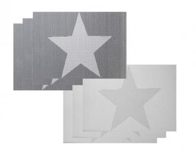 6er Set Platzset grau Stern Stars creme weiß Tischmatte Tischset