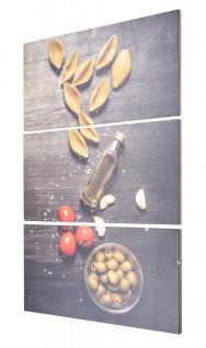 3er Set Wandbild B x H 40x60cm Holz Birkenholz Pasta Küche Holzbild Wanddeko