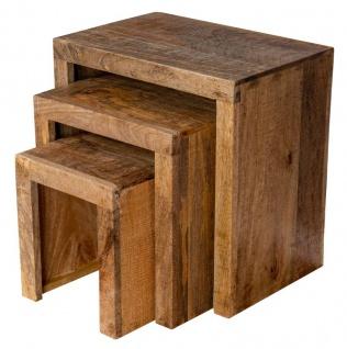 3er Set Beistelltisch Mango Holz Braun Natur Massiv Couchtisch Sofatisch Ablage