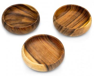 3er Set Snackschale Holz Akazie 15x4cm Rund Schale Obstschale Dekoschale Deko
