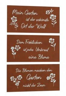 3er Set Schilder Eisen Rost B x H 40x20cm Garten Deko Sprüche Wandbild Schild