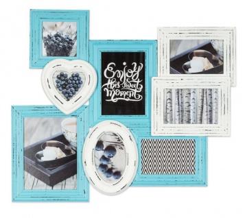 levandeo Bilderrahmen 8 Fotos 60x51cm Shabby Chic Weiß Blau Pastell Collage