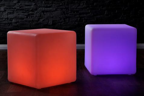 LED Würfel Hocker Sitzwürfel Design Lounge Beistelltisch Tisch Akku - Vorschau 3