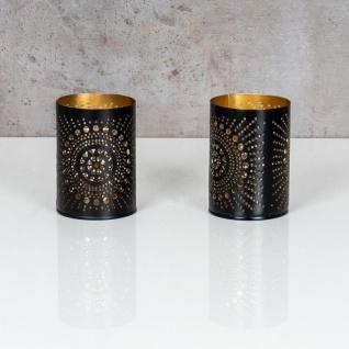 2er Set Teelichthalter Rund Schwarz Gold H11cm Metall Windlicht Kerzenhalter - Vorschau 2