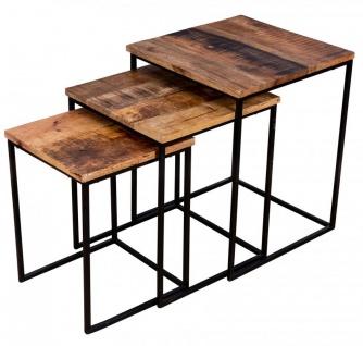 3er Set Beistelltisch Mango Natur Eisen Schwarz Design Holz Couchtisch Deko