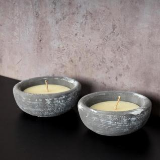 2er Set Kerze 17 x 17cm Kerzenwachs im Zement Topf Beton Grau Weiß Kerzen Deko - Vorschau 3