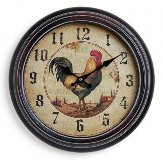 Wanduhr Metall 37cm Motiv: Hahn - Nostalgie Landhaus Uhr Küchenuhr