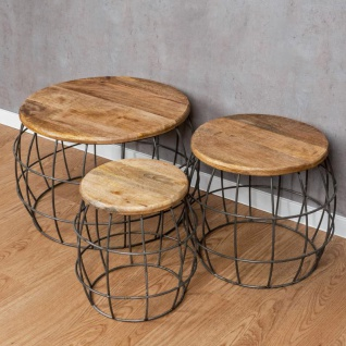 3er Set Couchtische Mango Rund Natur Eisen Schwarz Design Holz Beistelltisch - Vorschau 5