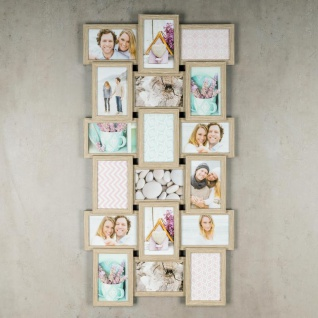 levandeo Bilderrahmen Collage 44x85cm 18 Fotos 10x15 Eiche gekälkt Holz MDF Glas - Vorschau 3