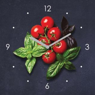 Wanduhr Glas 20x20cm Tomate Basilikum Uhr Glasbild Küche Küchenbild Deko