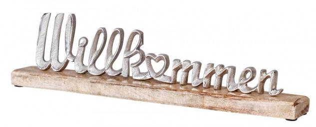 Schriftzug Willkommen L45cm Metall Silber Mango Holz Tischdeko Deko Aufsteller