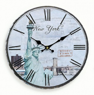 Wanduhr Holz Amerika USA New York Freiheitsstatue Uhr römische Ziffer - Vorschau