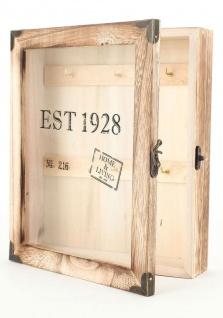 Schlüsselkasten Keybox Schlüsselbox Holz Natur Glastür Living & Home