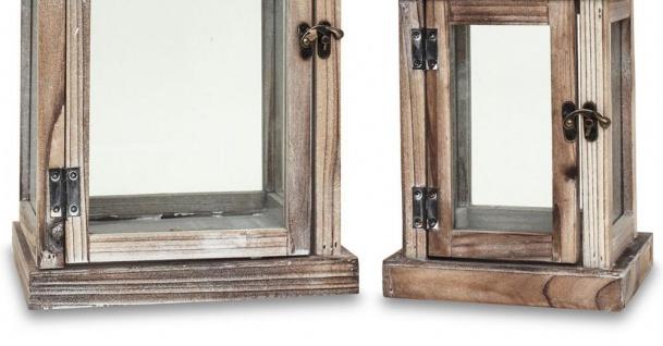 2tlg. Laternen Set Holz natur braun Metall Glas Shabby Chic Garten - Vorschau 4