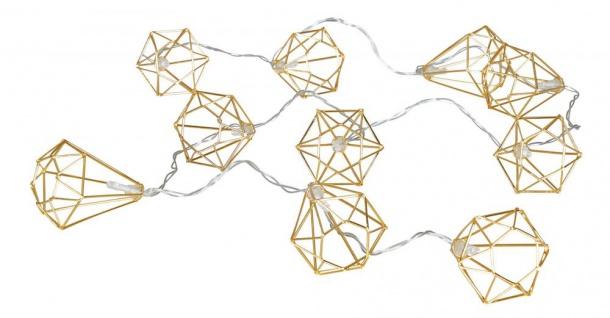 10er Lichterkette LED Metall Gold Diamant Licht Beleuchtung Deko Industrial