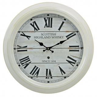 Wanduhr XXL 47cm Metall weiß Scottish Whisky Café Nostalgie Shabby Uhr