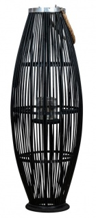 Laterne H95cm Bambus Windlicht Schwarz Holz Glas Kerzenhalter Sisal Deko