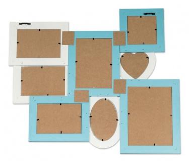 levandeo Bilderrahmen 8 Fotos 60x51cm Shabby Chic Weiß Blau Pastell Collage - Vorschau 5