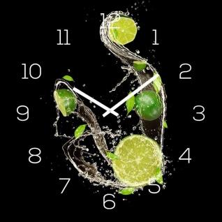 levandeo Wanduhr Glas 30x30cm Glasuhr Uhr Glasbild Frucht Küchenuhr Schwarz Deko