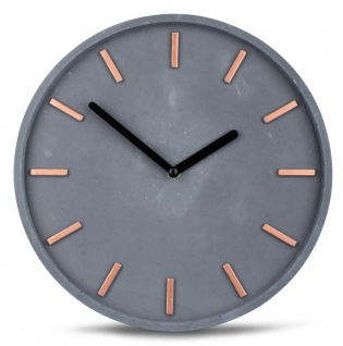 Hochwertige Beton-Uhr Wanduhr 30cm Grau Kupfer Uhrzeit modern Wanddeko - Vorschau 1