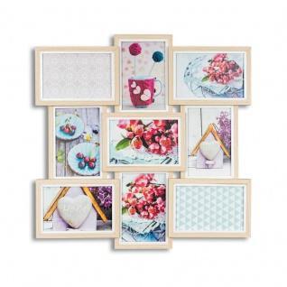 Bilderrahmen Collage 45x45cm 9 Fotos 10x15 Natur MDF Holz Weiß Glasscheiben