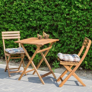 5tlg. Balkonmöbel Set Tisch Stühle Stuhlkissen Akazienholz Garten - Vorschau 3