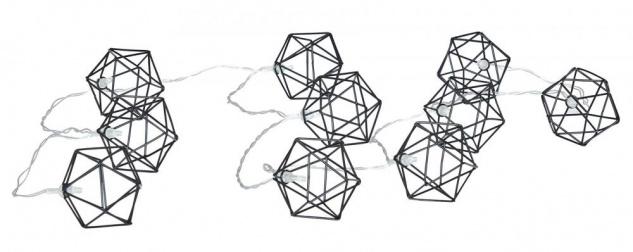 10er Lichterkette LED Metall Schwarz Diamant Polygon Licht Beleuchtung Deko