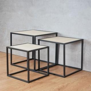 3er Set Beistelltisch Metall Schwarz Holz Cube quadratisch Couchtisch Deko Tisch - Vorschau 2