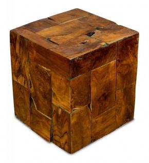 Beistelltisch Hocker Teakholz Tisch Höhe 45cm Holzhocker Holztisch Massiv-Holz