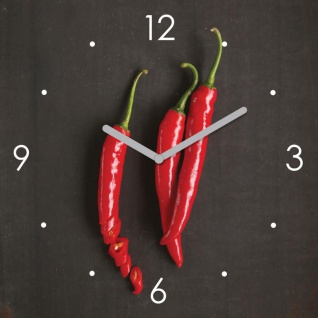 Wanduhr Glas 30x30cm Chili Glasuhr Uhr Glasbild Küche Küchenbild Deko