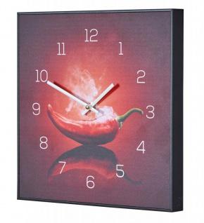 Wanduhr 30x30cm Uhr PVC Rahmen Schwarz Küche Chili Peperoni Wandbild Wanddeko