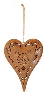 Schild Herz 12x15cm Ornamente Gartendeko Türschild Edelrost Wandbild Rostdeko Deko