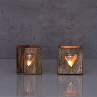 2er Set Windlicht Herz 9cm Mangoholz Teelicht Glas Teelichthalter Kerze Deko - Vorschau 5