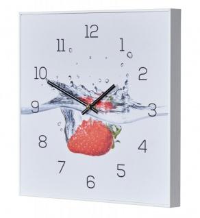 Wanduhr 30x30cm Uhr PVC Rahmen Weiß Erdbeere Rot Wasser Frucht Fruit Küchenuhr