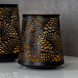 2er Set Teelichthalter Schwarz Gold H19 cm Metall Windlicht Design Kerzenhalter - Vorschau 4