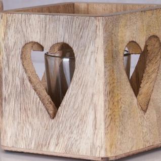 2er Set Windlicht Herz 9cm Mangoholz Teelicht Glas Teelichthalter Kerze Deko - Vorschau 4