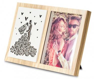 Bilderrahmen LED Foto 15x20cm Hochzeit Holz Fotorahmen Tischdeko Love
