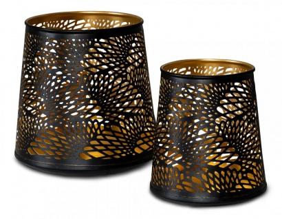 2er Set Teelichthalter Schwarz Gold H19 cm Metall Windlicht Design Kerzenhalter