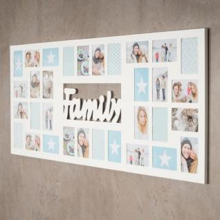 Bilderrahmen 139x60cm Holz Weiß Family 32 Fotos 10x15 Fotorahmen