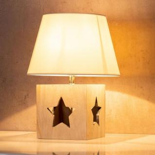 Lampe Tischlampe H41cm Holz Holzlampe Stern Leuchte Deko Tischleuchte Tischdeko - Vorschau 5