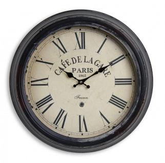 Wanduhr XXL 47cm Metall Frankreich France Paris Café Nostalgie Uhr