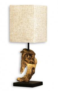 Lampe Tischlampe aus Holz Holzlampe Tischleuchte Treibholz 45cm beige