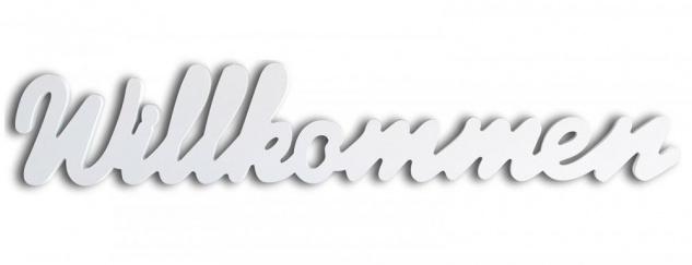Schriftzug Willkommen weiß Holz zum Hängen Wandobjekt Dekoration