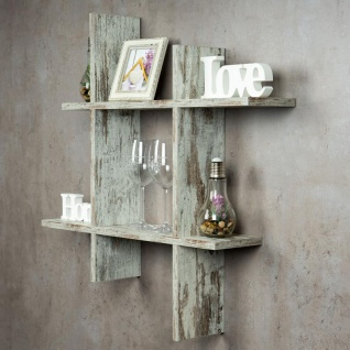 levandeo Hashtag Regal 75x75cm Wandregal Holz Shabby Chic Bücherregal Deko 3